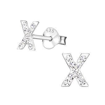 """x"" - 925 Sterling Silver Crystal Ear Studs - W23830x"