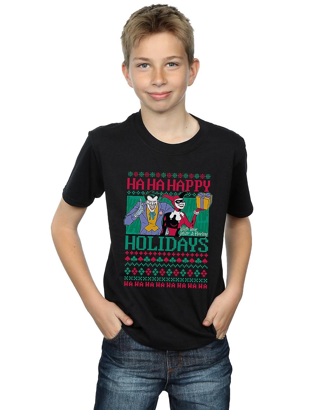 DC Comics Boys Joker And Harley Quinn Ha Ha Happy Holidays T-Shirt
