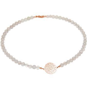 GEMSHINE Halskette Choker: Yoga Mandala grauer Mondstein. Silber,vergoldet, rose
