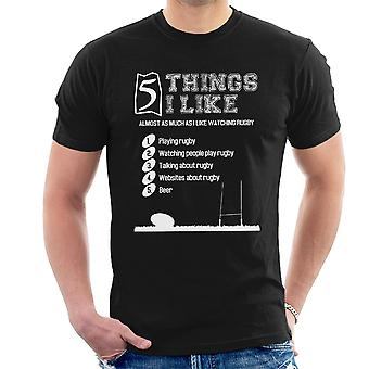 5 Things I Like Almost As Much As Watching Rugby Men's T-Shirt