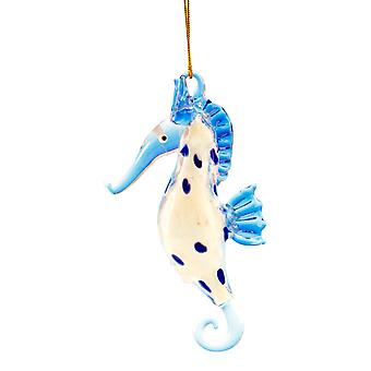 Glass Coastal Blue Spotted Seahorse Christmas Ornament Glow In Dark 4.5 Inch