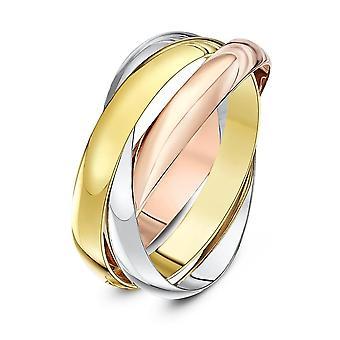 Star gifteringer 18ct tre farge gull russiske 3mm giftering