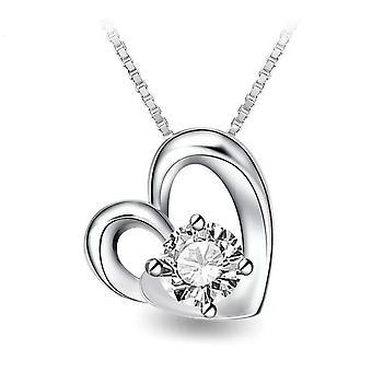 925 Sterling sølv Solitaire hjerte vedhæng halskæde