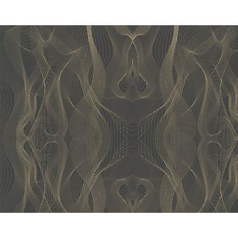 Karim Rashid Designer Retro Black Gold Wallpaper Paste Wall Metallic Sound Wave
