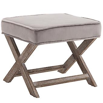 HOMCOM Vintage Footstool Padded Seat X Leg Chair Velvet Cover Shabby Chic Footrest Solid Rubber Wood 49.5 x 45 x 41 cm Grey
