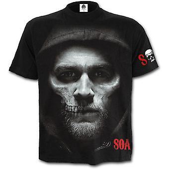 Spiraal-Jax schedel-zonen van anarchie korte sleevet-shirt zwart