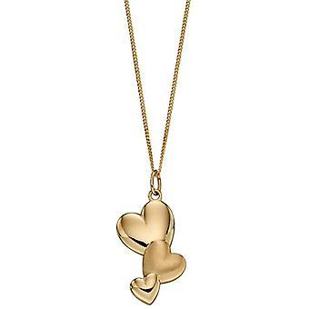 Elements Gold Mixed Texture Heart Pendant - Gold
