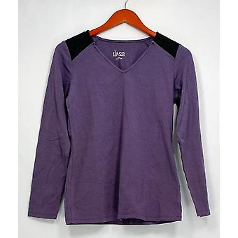 Denim & Co. Top XXS pitkähihainen tunika olkapää pad yksityiskohtaisesti V kaula violetti A256310