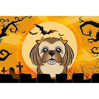 Halloween Chocolate Brown Shih Tzu Fabric Placemat
