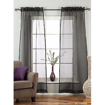 Black - Rod Pocket Sheer Tissue Curtain Panel Drape - Piece