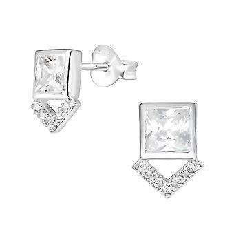 Geometrické - 925 Sterling Silver Kubické Zirconia ušní čepy - W36781x