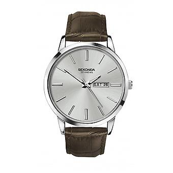 Sekonda Mens Round Silver Day/Date Dial Brown Leather Strap Watch