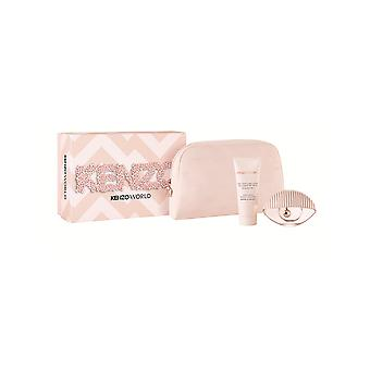 Kenzo World gave sæt 75ml EDT + 75ml body lotion + pose-pink udgave
