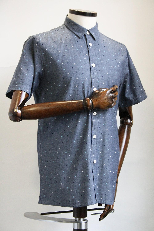 Merc London Fairby Blue Spotty Shirt