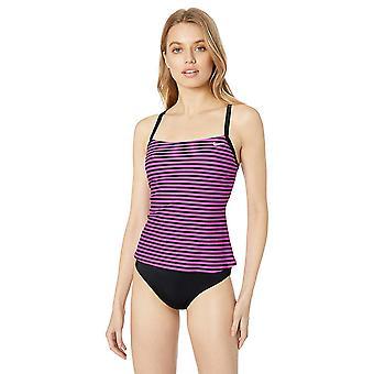 Nike Swim Women's Laser Stripe Racerback Tankini Swimsuit Set, Fuchsia Blast,...