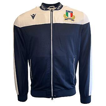 2019-2020 Italy Macron Rugby Full Zip Anthem Jacket (Navy)