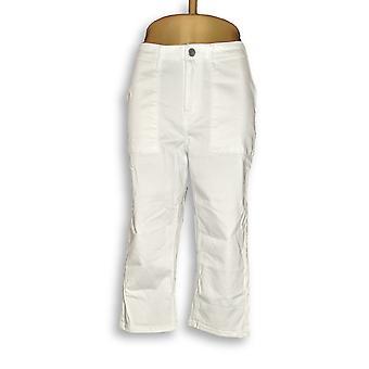 Susan Graver Frauen's Petite Jeans Stretch Twill Capris Weiß A304081
