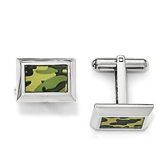 Stainless Steel Polished Printed Green Camo Under Rubber Cuff Links Jewelry Gifts for Men