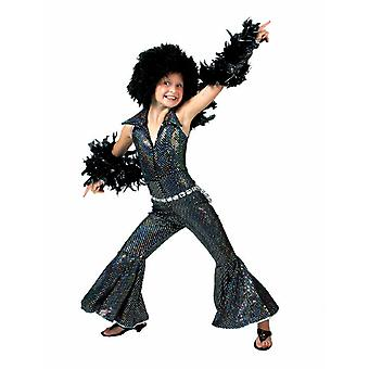 Boogie Girl Costume Black Jumpsuit Glitter Costume Pour enfants Costume Fille Carnaval Carnival Party Disco