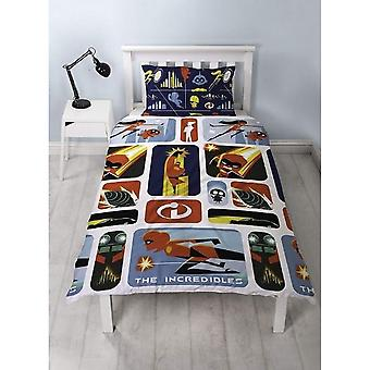 Incredibles 2 Childrens/Kids retro omkeerbare één Rotary dekbed set