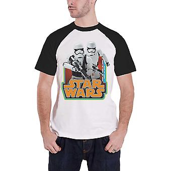 Star Wars T Shirt Stormtroopers vintage logo new Official Mens White Raglan