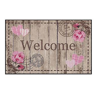 Salon lion foot mat washable cottage chic Welcome Roses 75 x 120 cm SLD1104-075 x 120