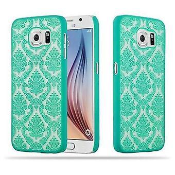 Cadorabo Caja para Samsung Galaxy S6 (NO para EDGE) Funda de la caja - Flores Paisley Henna Diseño Funda protectora - Funda de la caja del teléfono parachoques back Case Cover