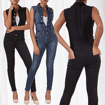 Women's Jeans Overall Jumpsuit Skinny Pantsuit One Piece Used Stretch Sleeveless