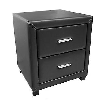 Dorset 2 Drawer Bedside Cabinet - Faux Leather - Black