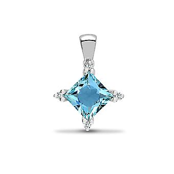 Jewelco London 18ct White Gold 3 Claw Set H I1 0.05ct Diamond and Princess Blue 1.4ct Topaz Square Star Cluster Pendant