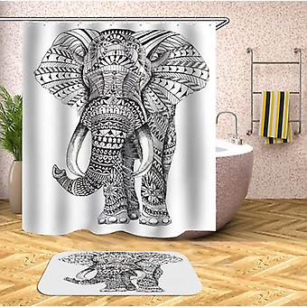 Black And White Indian Elephant Shower Curtain