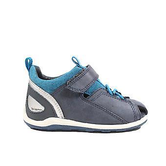 Ecco Biom Mini 754811 01303 Blue Leather Boys Closed Toe Sandals
