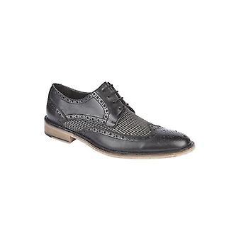 Roamers Fabian hombres cuero Houndstooth Brogue Zapatos Negro /gris