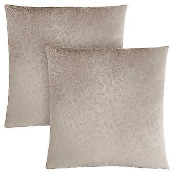 """18"""" x 18"""" Taupe, Floral Velvet - Pillow 2pcs"""