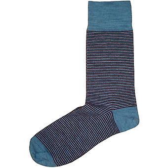 Chaussettes à rayures minces Bassin et Brun - Bleu/Vin