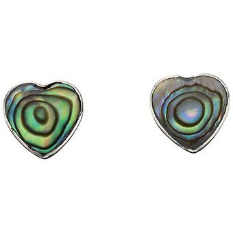 Beginnings Paua Shell Heart Stud Earrings - Multi Colour/Silver