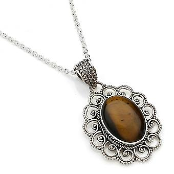 Kettinghanger 925 Silver Tiger's Eye incl. Silver Chain (x 2 mm/nr. 83)