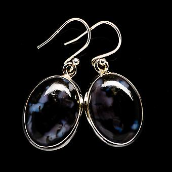 "Gabbro Earrings 1 3/8"" (925 Sterling Silver)  - Handmade Boho Vintage Jewelry EARR395663"