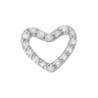 925 Sterling Argent Rhodium Plaqué Single Mate CZ Cubic Zirconia Simulated Diamond Love Heart Stud Boucles d'oreilles Bijoux Cadeau Bijoux