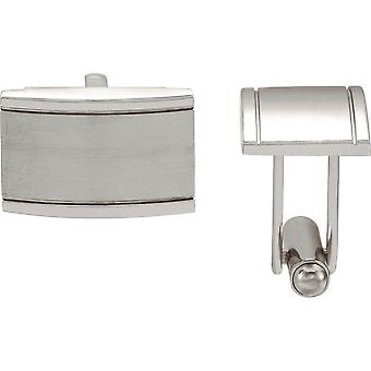 Stainless Steel Polished Ridged Rectangle Cuff Links Jewelry Gifts for Men