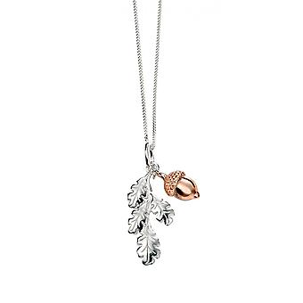 Joshua James Serenity Silver & Rose Gold Plated Acorn Pendant