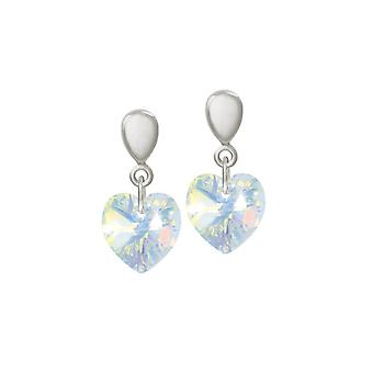 Eternal Collection Amour Aurora Borealis Crystal Heart Silver Tone Drop Screw Back Clip On Earrings