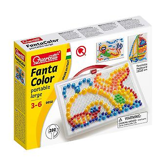 Quercetti FantaColor Portable Large 280PC Pegboard Set STEAM Toy Ages 3-6 Years