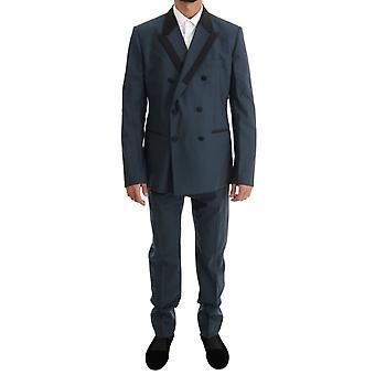 Dolce & Gabbana Blue Wool Dwurzędowy 3-częściowy garnitur