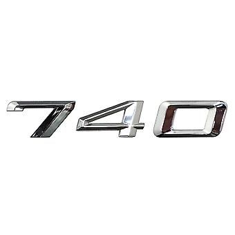 Silver Chrome BMW 740 Car Model Rear Boot Number Letter Sticker Decal Badge Emblem For 7 Series E38 E65 E66E67 E68 F01 F02 F03 F04 G11 G12