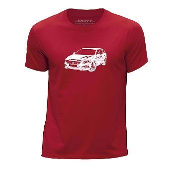 STUFF4 Boy's Round Neck T-Shirt/Stencil Car Art / V60 T6/Red