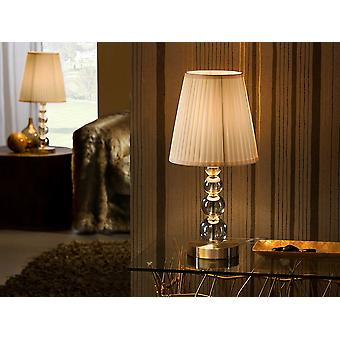 Schuller Mercury - Small table lamp of 1 light. Made of glass in champagne tonality, metal parts and base in aged brass finish. Ribboned beige shade. - 662136NUK