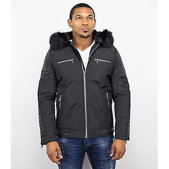 Short Parka Jacket - With Fur Collar - Black