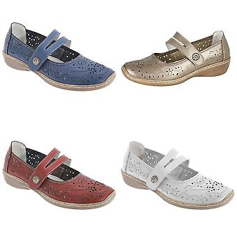 Boulevard Womens/Ladies Touch Fastening Perforated Bar Casual Leather Shoes