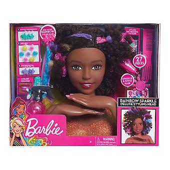 Barbie Rainbow Sparkle Deluxe Styling Head Afro Hair 27PCs